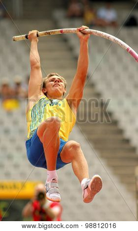 BARCELONA - JULY, 10: Melker Svard Jakobsson of Sweden during Pole Vault event of the 20th World Junior Athletics Championships at the Stadium on July 10, 2012 in Barcelona, Spain