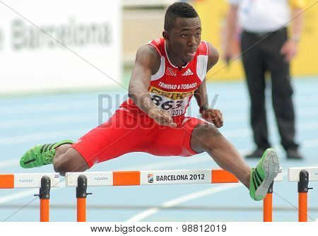 BARCELONA - JULY, 10: Ruebin Walters of Trinidad & Tobago during 110m hurdles event of the 20th World Junior Athletics Championships at the Olympic Stadium on July 10, 2012 in Barcelona, Spain