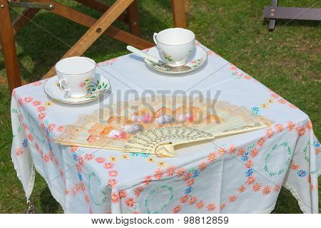 Outdoor Picnic Table Set For Two.