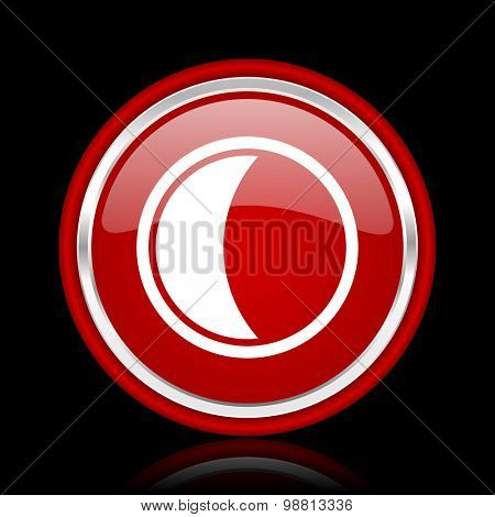 moon red glossy web icon chrome design on black background with reflection