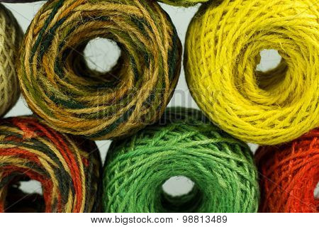 colorful hemp rope rolls , yarn, thread, string for handicraft