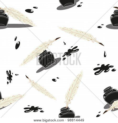 Vector seamless background with inkwell and pen and ink blob