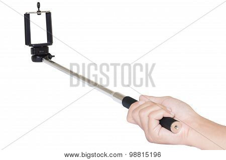 Hand Holding Selfie Stick Isolated With Clipping Path On White Background