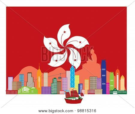 Hong Kong Skyline And Buddha Statue In Hk Flag Vector Illustration