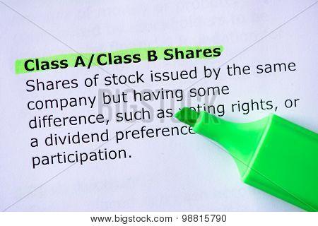 Class A/class B Shares