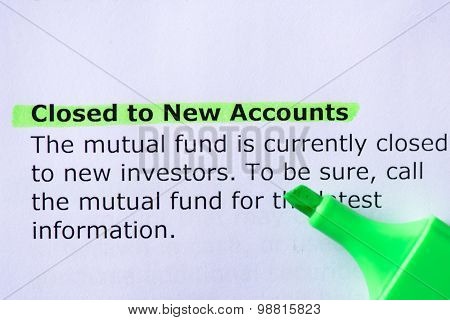 Closed To New Accounts