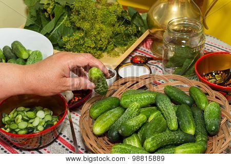 Pickling Cucumbers, Pickling - Hands Close-up, Cucumber, Herbs, Spices, Salt, Hohloma, Russian Style
