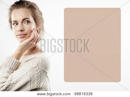 Pretty girl to the left of beige poster layout or design