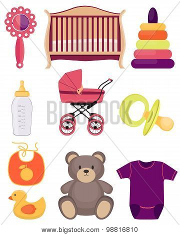 A set of baby accessories and toys isolated on white background. Vector illustration