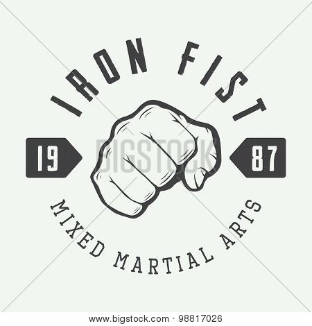 Vintage Mixed Martial Arts Logo, Badge Or Emblem.