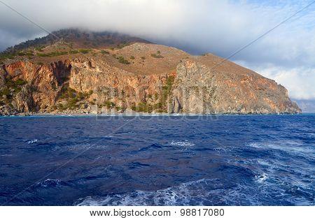 The mountainside on the sea coast