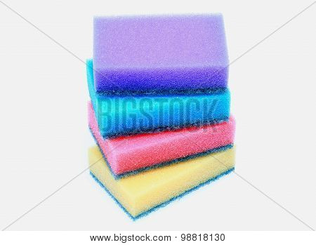 Artificial fiber sponge, various colored over white