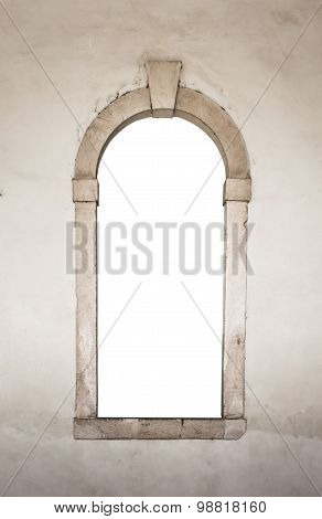 Ancient Stone Window White Isolated