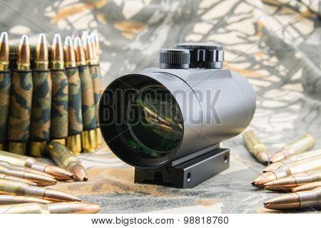 Rifle Ammunition And Red Dot Sight