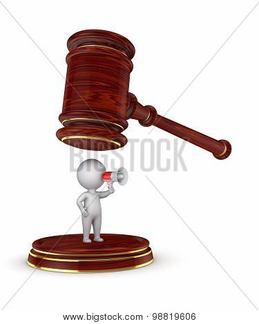 3d person and lawyer's hammer.