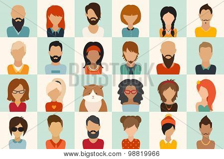 Big icons set. 12 women 11 men and 1 cat flat icon vector illustration