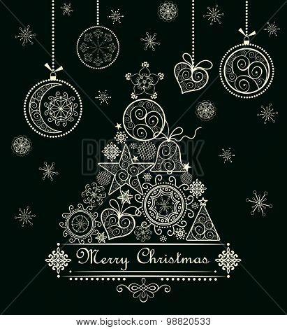 Christmas decorative lacy card