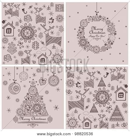 Collection of sweet decorative christmas backgrounds