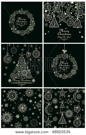 Collection of decorative christmas cards and backgrounds