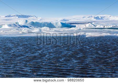 Blue icebergs floating in the Jokulsarlon lagoon