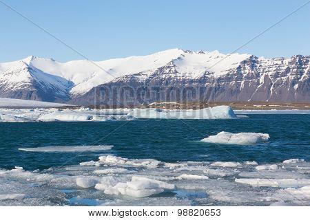 Jokulsarlon lake with iceberg with mountain snow