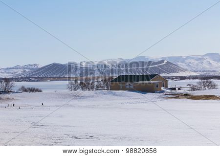 Myvatn volcano with snow over during late winter