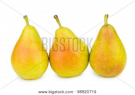 Three Yellow Pears Isolated On White