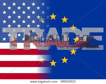 American EU flags with trade text illustration