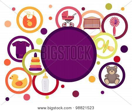 Card baby accessories and toys isolated on white background. Vector illustration