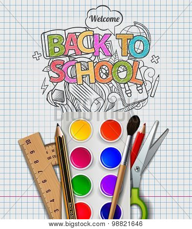 Back to school doodle, vector illustration.