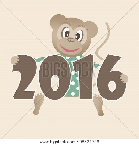 Happy New Year 2016 Illustration With Toy Monkey Background