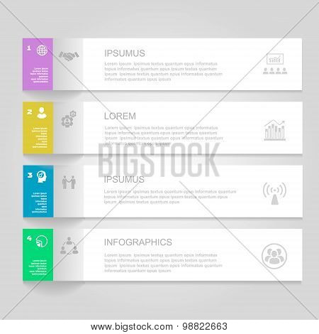 Infographics Design template.   Numbered banners, horizontal cutout lines for graphic or website, pr