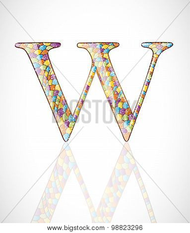 Abstract colorful letter W