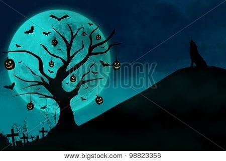 Haunted Grave And Wolf On Blue Moon