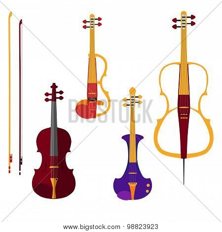 Set of different violins and cello with bows on white backgound
