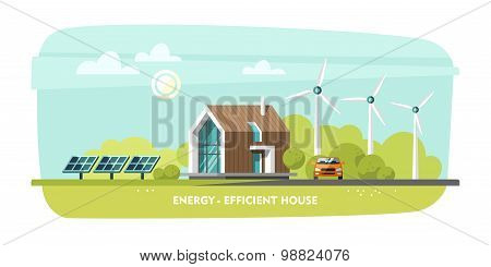 Energy-efficient house, passive house, eco house, green energy, ecology.