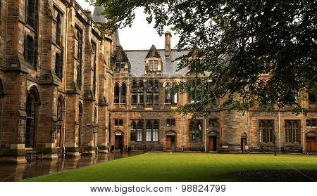 Architectural detail from inner court of the university of Glasgow, Scotland
