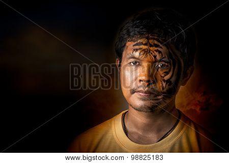 Young Man Transform To Tiger