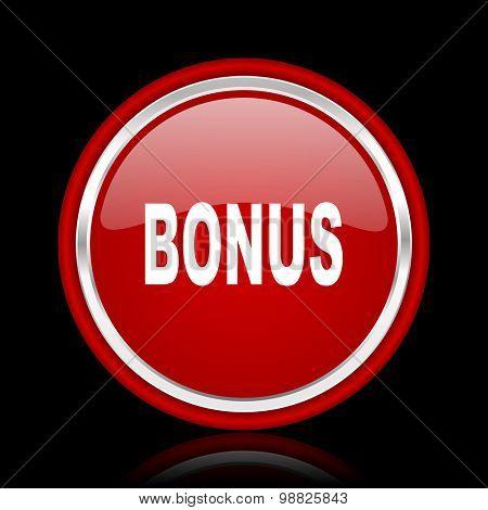 bonus red glossy web icon chrome design on black background with reflection