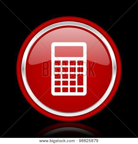calculator red glossy web icon chrome design on black background with reflection