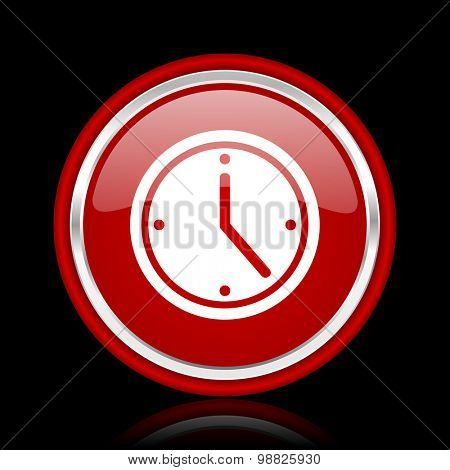 time red glossy web icon chrome design on black background with reflection