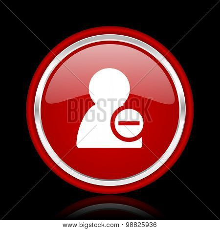 remove contact red glossy web icon chrome design on black background with reflection