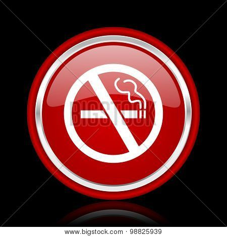 no smoking red glossy web icon chrome design on black background with reflection