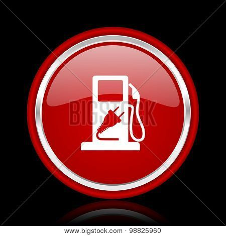 fuel red glossy web icon chrome design on black background with reflection