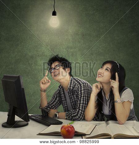Smart Students Thinking A Bright Idea