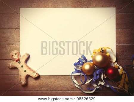 Papaer And Christmas Toys With Gingerbread Man