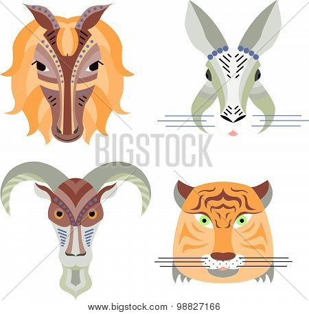 Vector Illustration Of Geometrical Flat Design Style Animal Portraits.