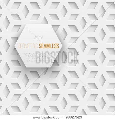 Abstract seamless geometric cube pattern with shadow