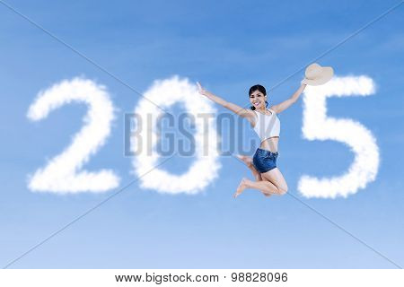 Woman Jumps And Forming Number 2015