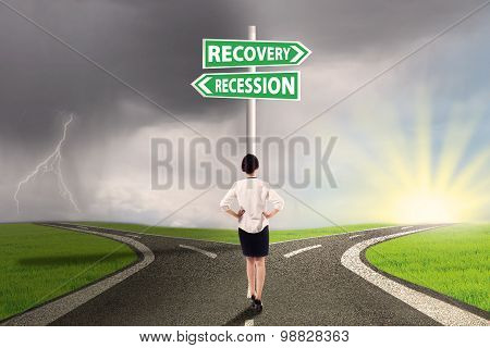 Woman On The Road To Recovery Or Recession Finance